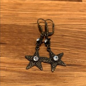 Brass Star Dangle Earrings with Faux Diamonds
